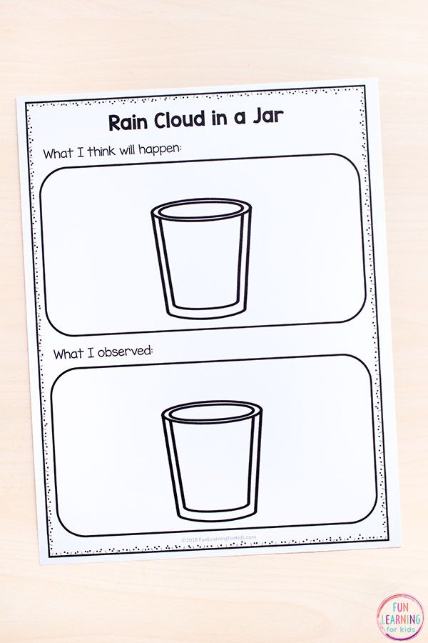 rain cloud in a jar science experiment with printable recording sheets weather theme science. Black Bedroom Furniture Sets. Home Design Ideas