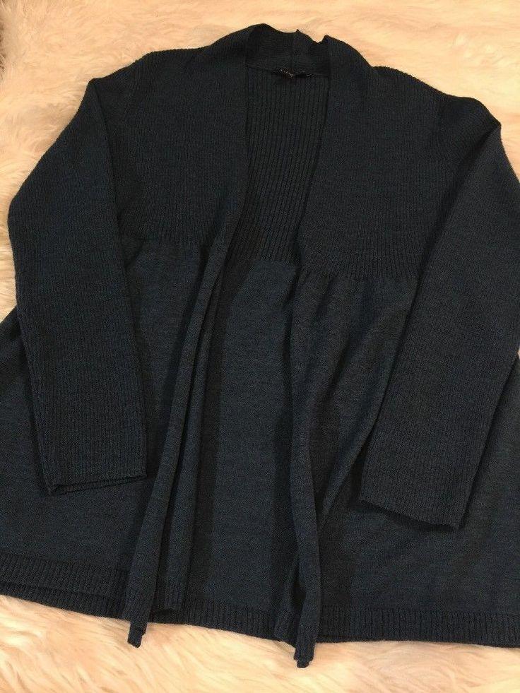 EILEEN FISHER Blue 100% Merino Wool Ribbed Contrast Open Long Cardigan Sweater M #EileenFisher #Cardigan