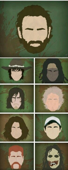 Rick, Carl, Michonne, Daryl, Carol, Maggie, Glenn, Abraham and a walker