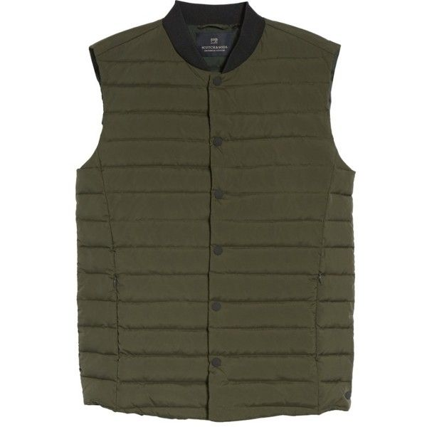Men's Scotch & Soda Down Vest (9.595 RUB) ❤ liked on Polyvore featuring men's fashion, men's clothing, men's outerwear, men's vests, deep forest, mens vest, mens vest outerwear, mens down vest and mens utility vest