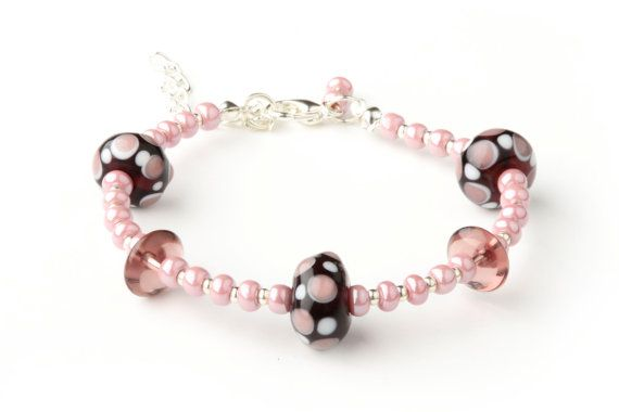 CORALLIA'S Amethyst and pink bracelet  lampwork by coralliaunique