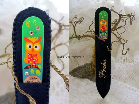 Painted Owl Gift Swarovski Bridesmaid Glass Nail File