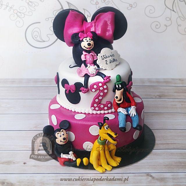 71BD. Tort Myszka Minnie, Miki, pies Pluto i Goofy. Disney cake with Mickey Mouse, Minnie, Pluto & Goofy toppers.