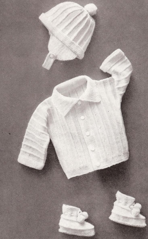 Baby Boy Set Hat Sweater Booties Knitting Pattern Vintage