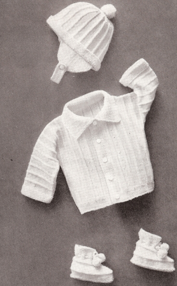 Baby Boy Set Hat Sweater Booties Knitting Pattern Vintage