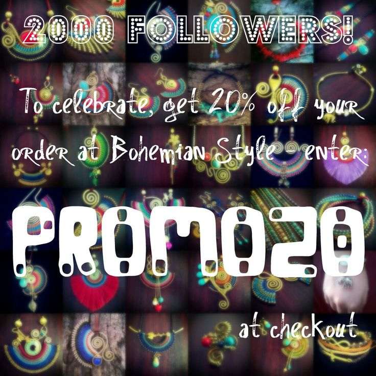 In celebration of reaching 2000 followers on Instagram, we're offering 20% discount on our entire Etsy shop! Visit www.bohemianstyleshop.Etsy.com and enter 'PROMO20' at checkout to witness the massive savings. Limited time only!!