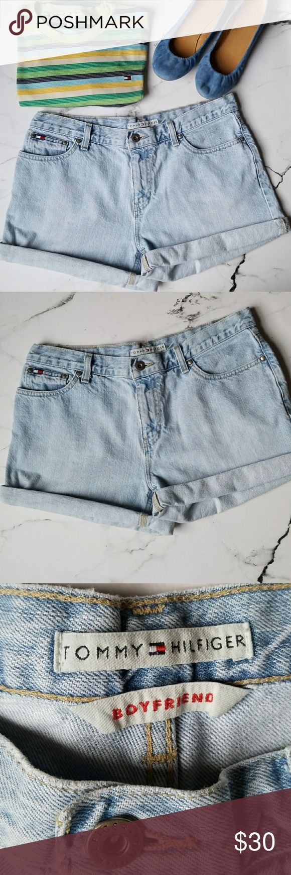 """Vintage Tommy Hilfiger Boyfriend Shorts Light wash, boyfriend style vintage shorts from Tommy Hilfiger.  No size tag but fits like a size 8.  Some wear along the edges that gives authentic vintage look.  Inseam (when unrolled) measures 4"""" and waist when laid flat is 16.25"""" Tommy Hilfiger Shorts Jean Shorts"""