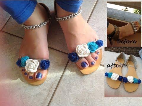 Shoe refashion 2,blue fimo rose sandalsh with chain/ Σανδάλια με λουλούδια fimo και αλυσίδα