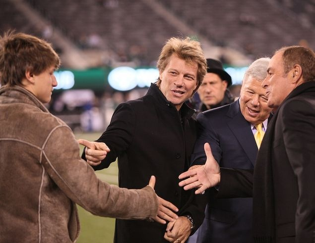 Jon introducing his oldest son, Jesse to Robert Kraft and crew on the sidelines at Patriots Vs. Jets game -Nov. 13, 2011.