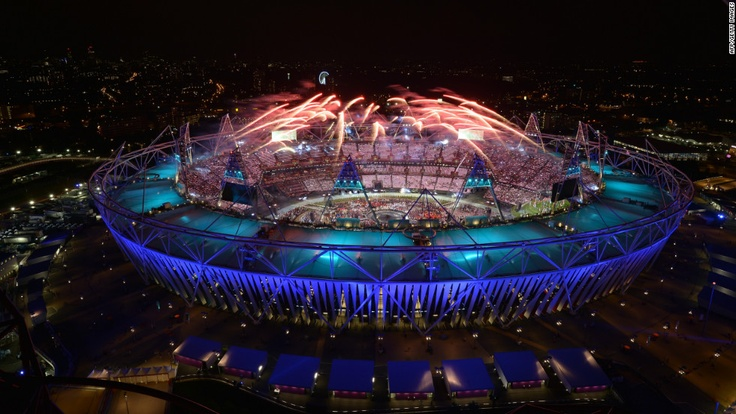 Fireworks light up the sky during the opening ceremony of the London 2012 Olympic Games at the Olympic Stadium on Friday, July 27.