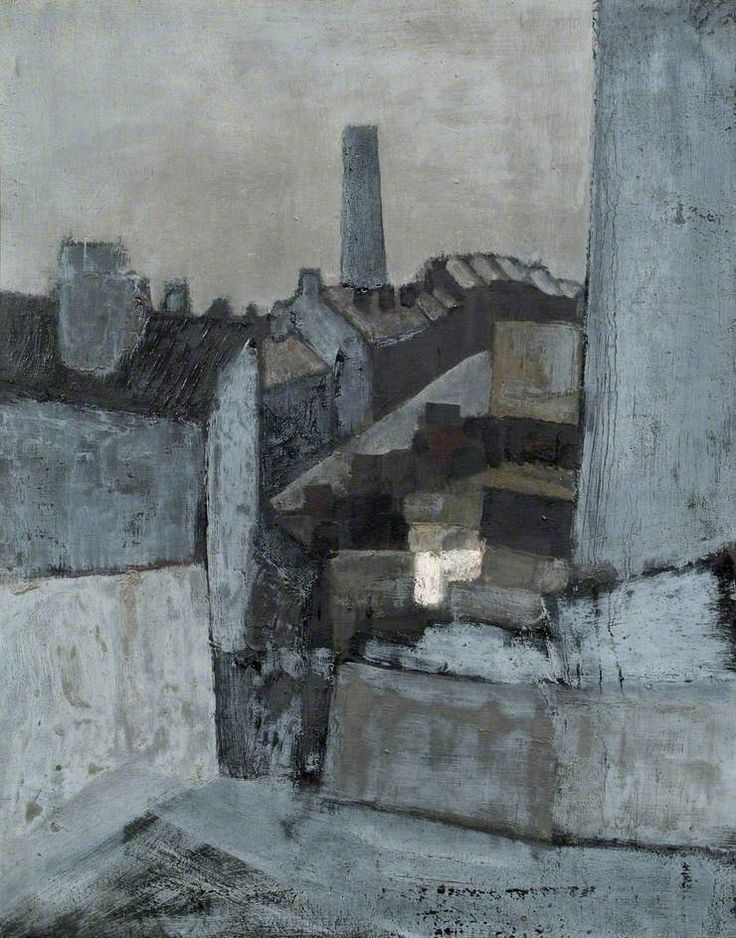 John Hoyland (1934–2011), Backyards, Sheffield (c.1958), oil on canvas, 71.5 x 92 cm.