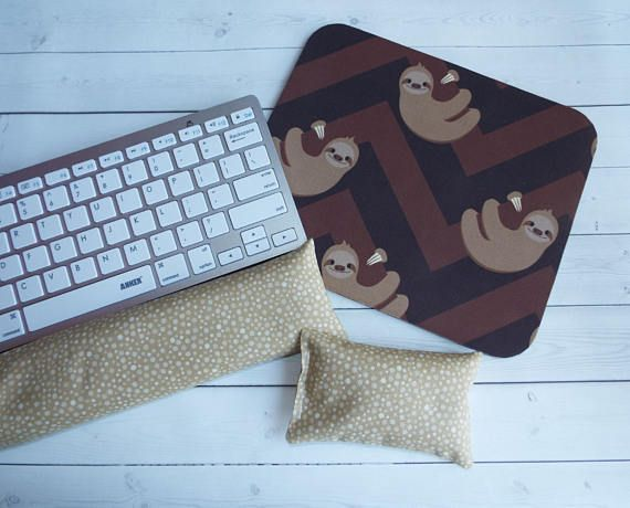 sloths Mouse pad set  mouse wrist rest  keyboard rest  chic / cute / preppy / computer, desk accessories / cubical, office, home decor / co-worker, student gift / patterned design / match with coasters, wrist rests / computers and peripherals / feminine touches for the office / desk decor