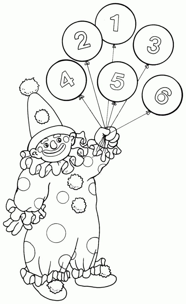 Clown with numbered balloons
