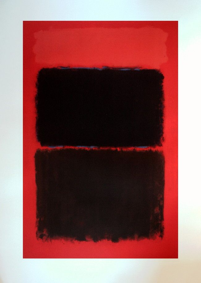 Mark Rothko : Sérigraphie : Rouge lumineux sur noir
