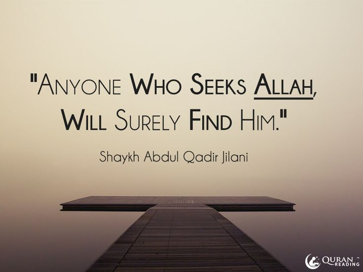 """Anyone who seeks Allah, will surely find Him."" -  Shaykh Abdul Qadir Jilani"