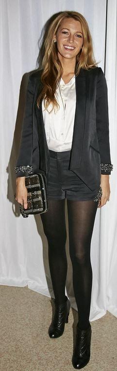 Blake Lively: Jacket and short – Sem Sem  Purse – Chanel