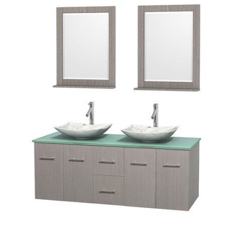 Wyndham Collection Centra 60 inch Double Bathroom Vanity in Gray Oak, Green Glass Countertop, Arista White Carrera Marble Sinks, and 24 inch Mirrors