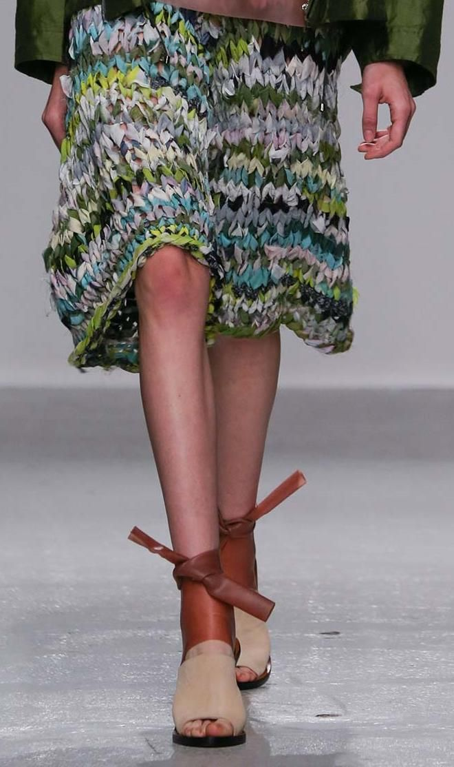 Seriously love the play on ribbon-knitting texture down to the shoes... Christian Wijnants - S 15