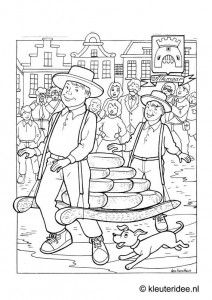 alkmaar cheese market holland themed coloring pages