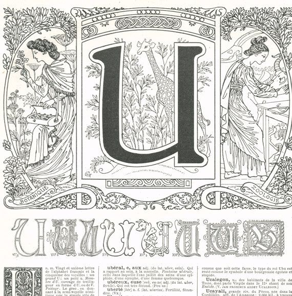 1922 Vintage Letter U Calligraphy ABC French dictionary page