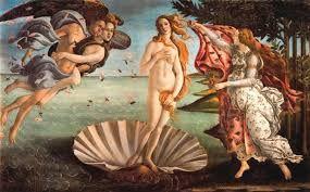 EL NACIMIENTO DE VENUS Autor: Sandro Botticelli, 1484. La pintura representa la llegada de Venus, sobre una concha, a la playa. La diosa es empujada por el soplo de los dioses alados entre una lluvia de flores.  He elegido esta obra por que me parece una buena opción como representación para el periodo del renacimiento, especialmente en el cuattrocento.