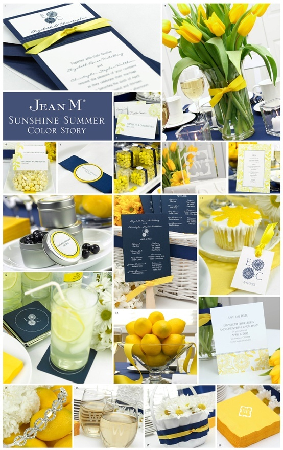 blue & yellow wedding colors ( I like the lemonade Idea (hard? hehe)  do you?
