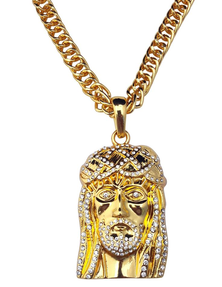 Hip Hop Style Jesus Piece Face of Christ Iced Out with Rope Chain Hip-Hop Style Necklace (24k Gold Plated)
