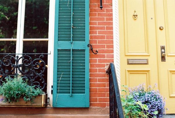 White House Blue Shutters Green Door