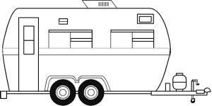 Camper Trailer Coloring Book Page: Free Camper Trailer Template or Coloring Page