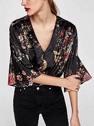 Shop Blue Velvet Plunge Bodysuit from choies.com .Free shipping Worldwide.$17.99