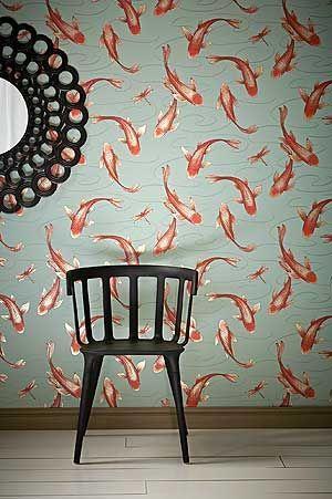 Design Tapete rot orange grün Koromo Cameo Tapeten Schlafzimmer