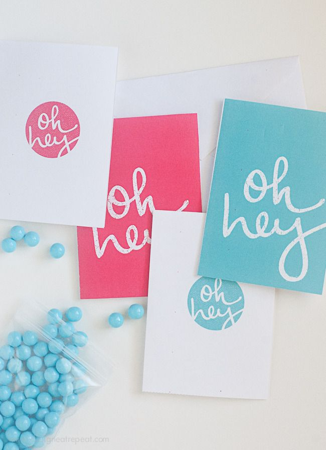 """Free Printable Note Cards """"Oh Hey"""" by Design. Eat. Repeat."""