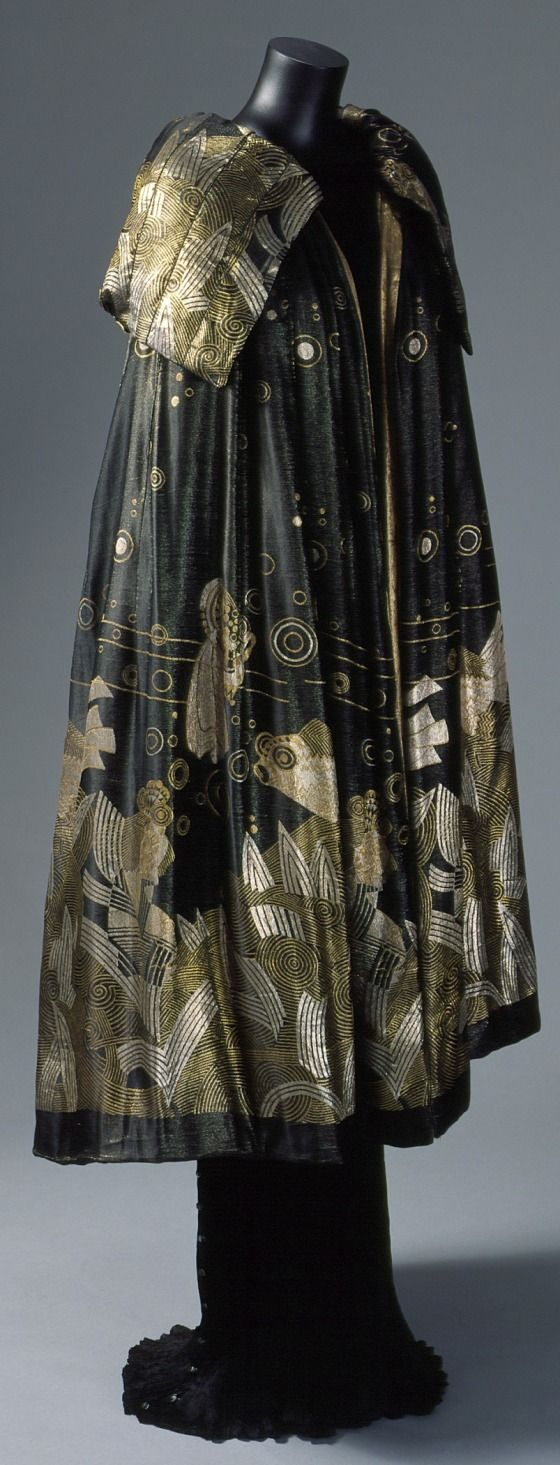 ~Woman's evening cape with design of goldfish | House of Worth, France, 1925 | Gold and silver lamé~    Los Angeles County Museum of Art, LACMA