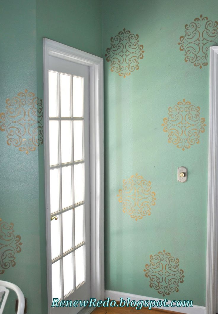 Rub and buff (Gold Leaf) stencilled walls  With  http://www.stencils-decals.com/damask-stencil-wall-faux-mural-pattern-1012-custom-sizes/