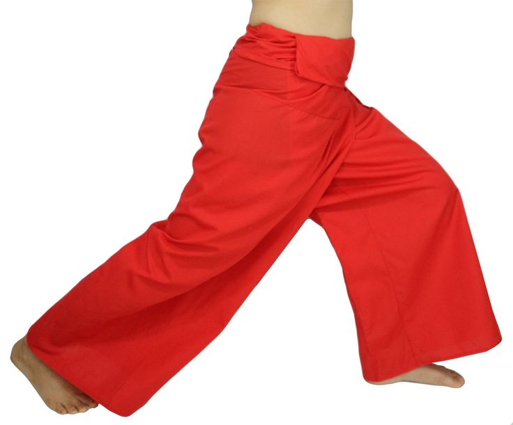 "Lovely Creations's Plus Size Man and Women Thai Fisherman Jumbo Wrap Pants Toray Wild Long Leg Baggy Yoga Casual Trousers Waist 61"" (AI Red). Unisex trousers that made very wide in the waist, one size fits all. Waist 60 inches, around legs are 29 inches and length 42.5 inches. Please see the size of pants at a picture again. Thai Fisherman pants for men, women and pregnant or pregnancy. Occasions: Sports, Dance, Training and other casual occasions such as party, beach, yoga, exercise..."