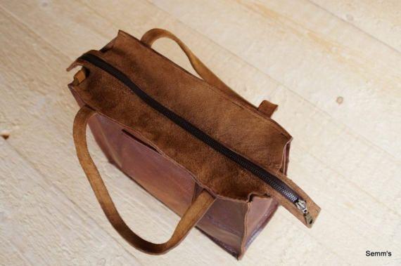 Leren tas bruine leren handtas handgemaakte leren tas