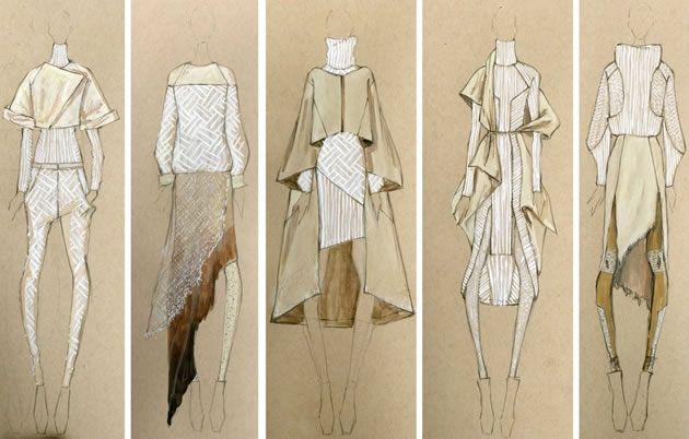 fashion design sketches using white pen