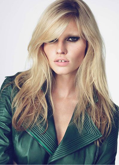 Lara Stone; W Magazine October 2010. Blonde with dark new growth.
