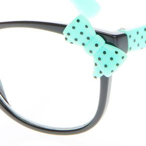 Black & Mint 3D Bow Spot Print Geek Glasses,