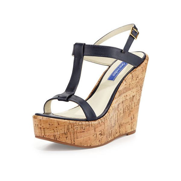 Dee Keller Erin Cork Leather Wedge Sandal, Navy (10,950 INR) ❤ liked on Polyvore featuring shoes, sandals, platform wedge sandals, navy wedge sandals, open toe wedge sandals, navy blue wedge sandals and cork platform sandals