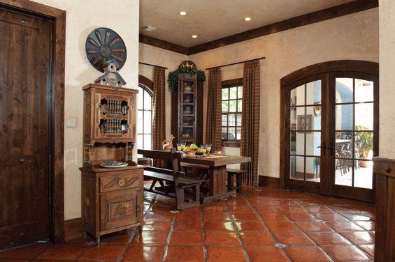 Saltillo tiles and wood trim