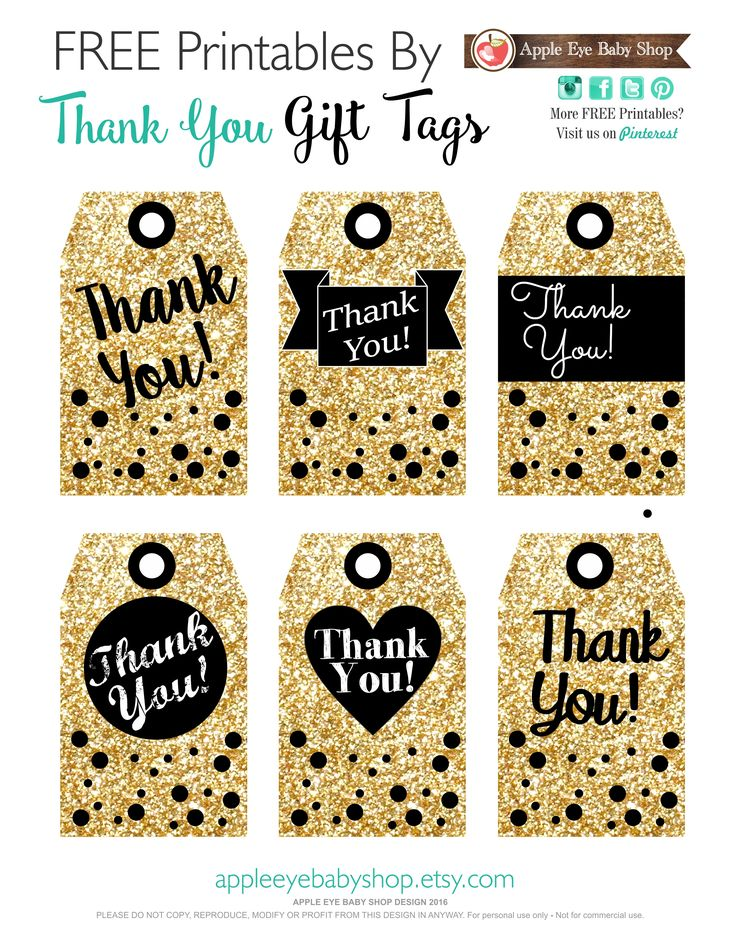 FREE Printables THANK YOU! GIFT TAGS Gold Glitter, Black