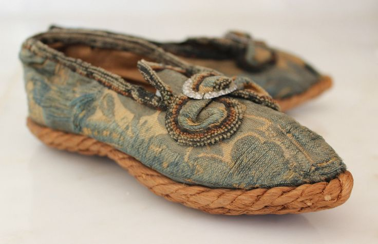 Rope soled Children's Silk Brocade Shoes France Early Mid 18th C