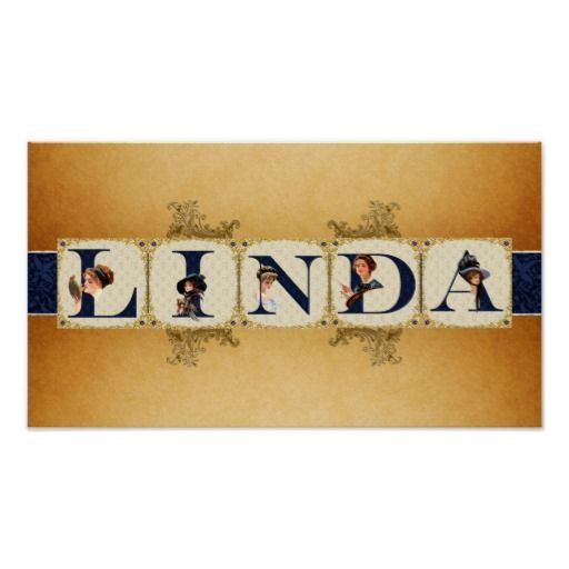 victorian names | Victorian Lady Name LINDA Poster Print