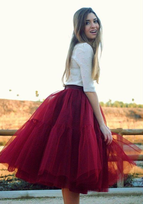 Wine Red Plain Grenadine High Waisted Fashion Cute Tutu Skirt