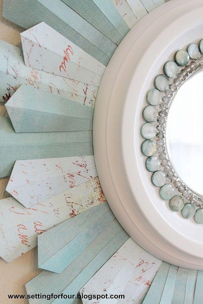 DIY Beaded Sunburst Mirror From a Ceiling Medallion & Scrapbook Paper!