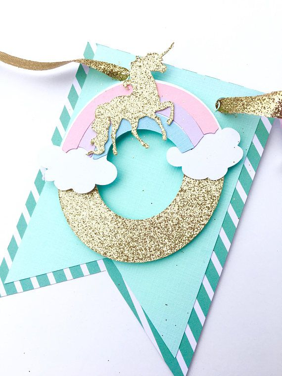 Unicorns for life. This is a double layered name banner. Each flag on the banner is 5 tall and the letters are thick gold glitter and popped for dimension. Make sure to leave your childs name and party date in the notes to seller at checkout! *the colors in this set can be
