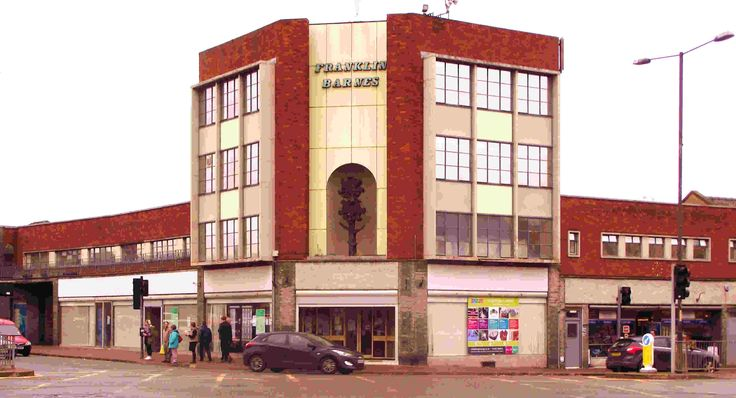 Franklin House at the junction of Blue Coat Street and Commercial Street in Hereford is a fine example of restrained British modernism. It was built in 1965 by Cecil Corey and Harry Bettington for Franklin Barnes, a garden supplies firm. The sculpture in the corner niche is a stylised flower. It is neglected and needs smartening up and loving. Buildings of this charm were no longer being built by 1970.