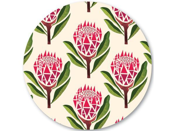 Handmade By Me Pretty Proteas Cork Backed Trivet - Designed and made by Sera Holland in the fairest Cape, Handmade by me is a range of textiles that is designed to be bright, fun and a colourful addition to your home. Using her popular textile designs, she has carried the theme over into a range of other products designed to enhance and brighten up your surroundings.