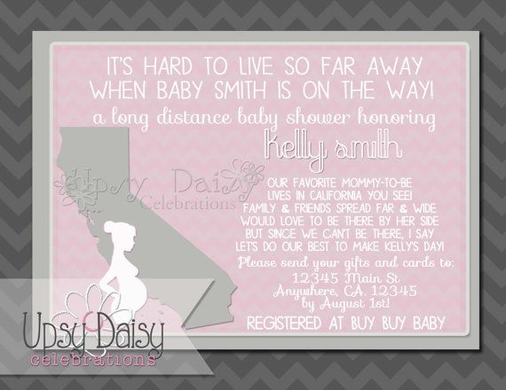 Long Distance Baby Shower State Pink Girl Itu0027s A Girl Polka Dots Neutral  Shower By Mail Invitation  Customized Printable